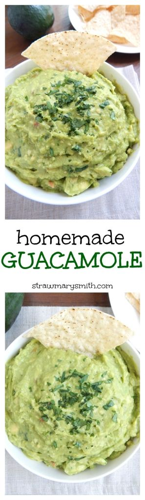 Homemade Guacamole filled with onions, tomatoes, garlic, and more. | strawmarysmith.com