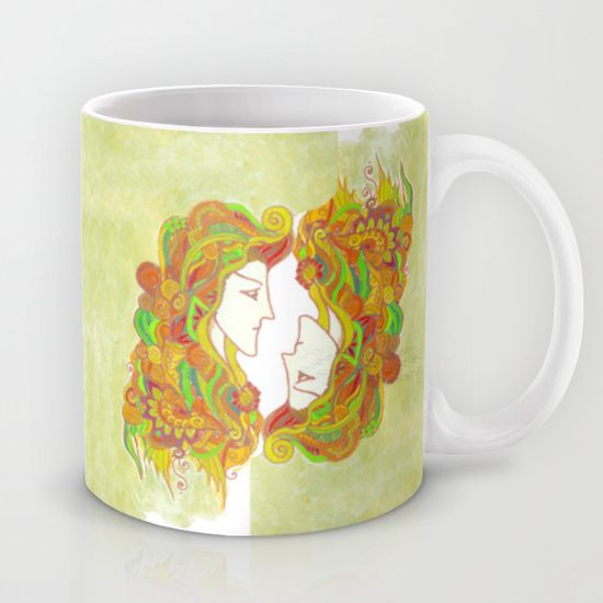 Golden Portrait by Spring-fae mug  Available in 11 and 15 ounce sizes, our premium ceramic coffee mugs feature wrap-around art and large handles for easy gripping. Dishwasher and microwave safe, these cool coffee mugs will be your new favorite way to consume hot or cold beverages.  Linework portrait in art nouveau style  Watercolor, ink marker, golden gilt wax  art nouveau, traditional art...