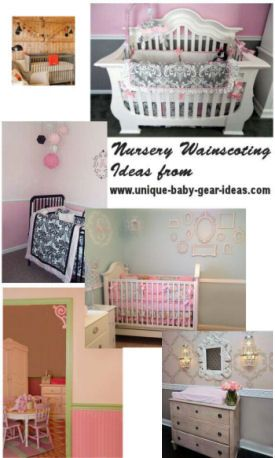 DIY wooden beadboard and panels nursery wainscoting ideas for a baby nursery.  See pictures of DIY wainscoting and chair rails in baby boy and girl nursery rooms.