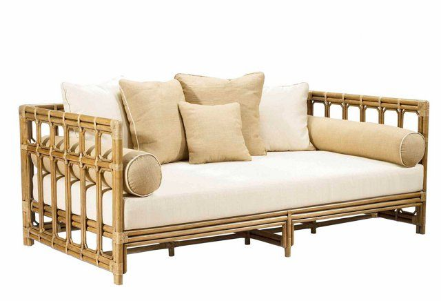 """Eloise 79"""" Rattan Daybed, Almond"""