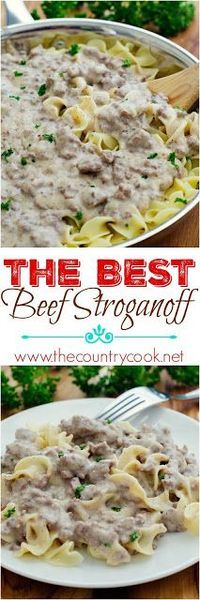 The Best Beef Stroganoff recipe shared by Life in the Lofthouse at The Country Cook. Creamy and so, so good. No canned cream soups. Ground Beef and milk and seasonings!