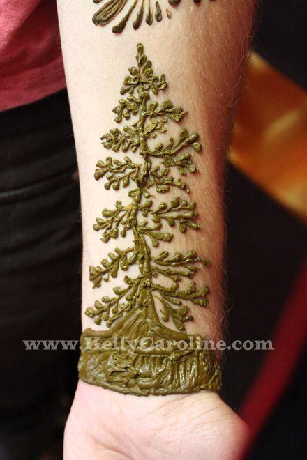 pine tree henna tattoo