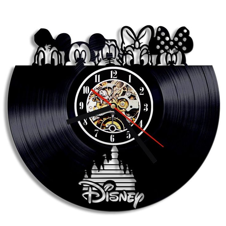 Free Shipping 1Piece Mickey & Minnie Mouse Vinyl Record Wall Clock Modern Wall Art Decorative Clocks Kids Room Home Decor
