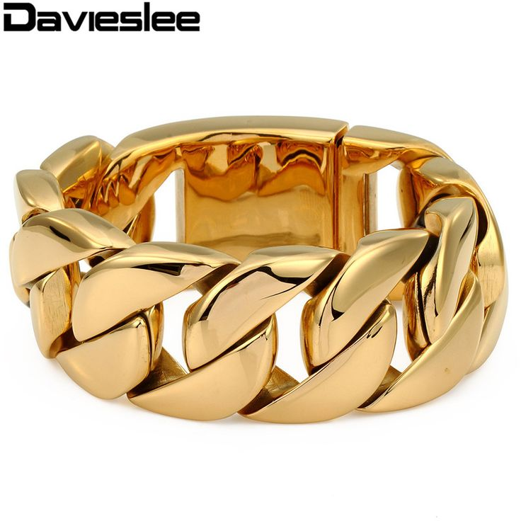 ==> [Free Shipping] Buy Best Davieslee Mens Chain Heavy Bracelet 316L Stainless Steel Gold Color Punk Hip Hop Jewelry Round Curb Cuban Thick Link 31mm LHB127 Online with LOWEST Price | 1720640561