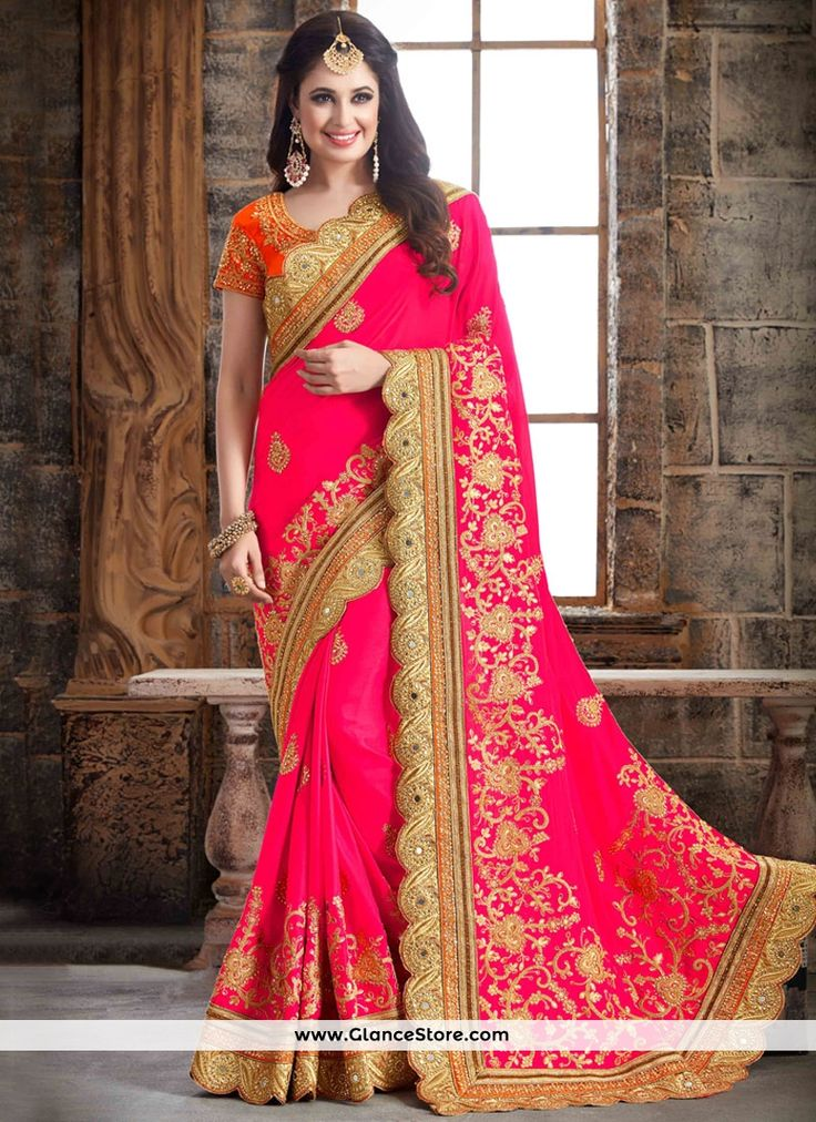 Titillating Crepe Silk Hot Pink Embroidered Work Designer Traditional Saree