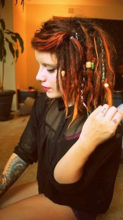 Red/Ginger dreads... Short hair... Beads... Wraps... Green... Love the short bob!