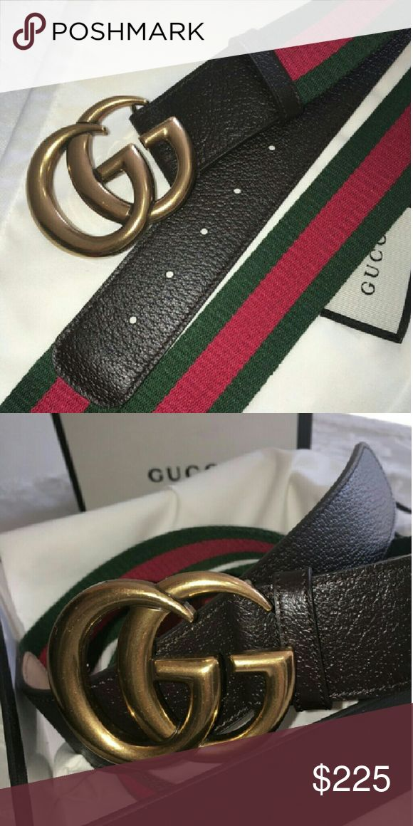 Gucci Web canvas belt with a textured Brown leathe -NEW authentic Gucci Web canvas belt with a textured brown leather trim. -Double G buckle. -Made in Italy. -Comes with original box, dust bag and shopping bag. -Shippes within 1-2 business days.  -Satisfaction guaranteed or full refund. Gucci Accessories Belts
