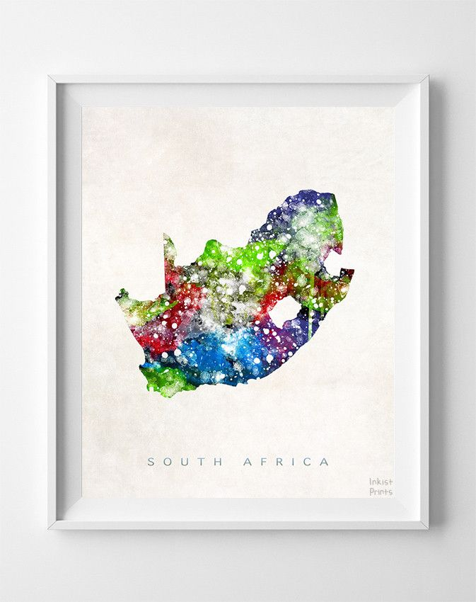 South Africa Watercolor Map Print