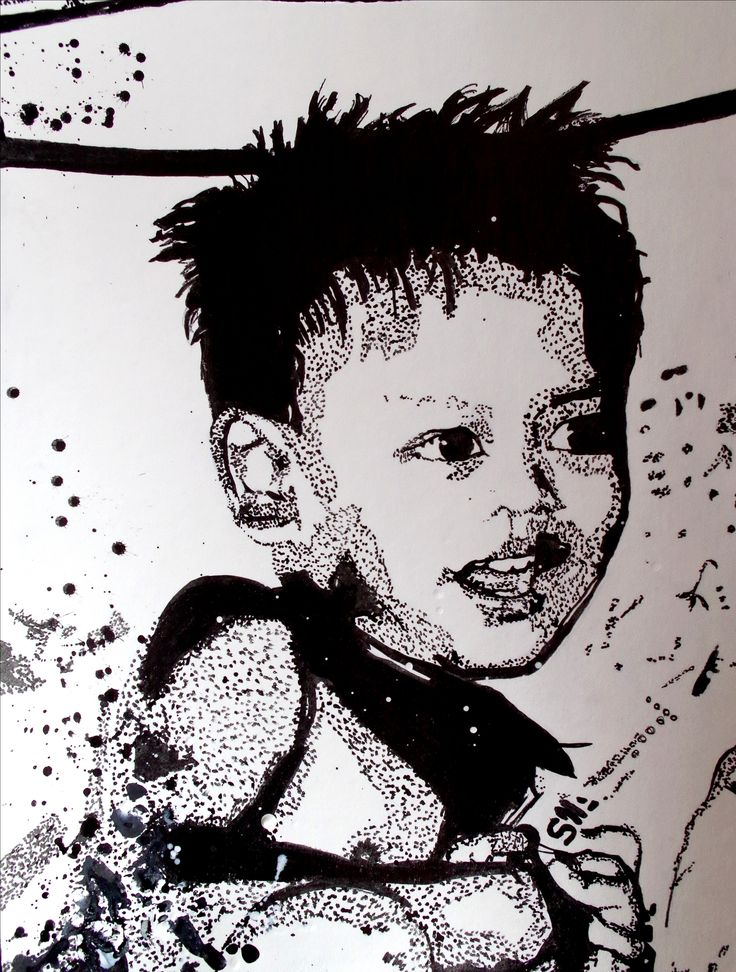 Portrait à l'encre de chine. Outils : Pinceaux et cure-dent. Sur papier en coton/bambou format 24x32 cm. Vidéo de l'évolution ici : https://www.youtube.com/watch?v=uFJEFJcgci4