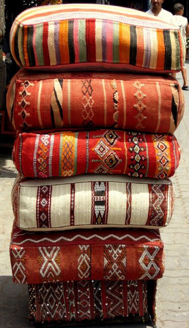 """Kilim floor Cushions in Morocco    I want to take those old ugly """"grandma"""" pillows you see on clearance and refinish in my own fabric!!"""