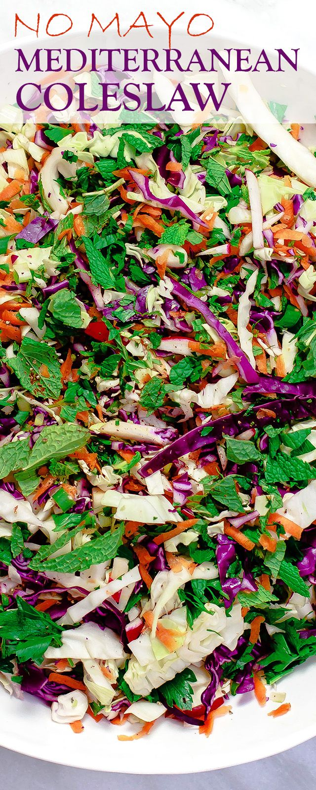 Mediterranean Coleslaw and Salmon Bowls | The Mediterranean Dish. A Mediterranean-style, no-mayo coleslaw recipe with cabbage, carrots, fresh mint and parsely, fresh ginger root; and a garlic citrus and olive oil dressing! Serve it along with your protein of choice; I like to add salmon. Click the image to see the step-by-step and browse more from TheMediterraneanDish.com . #spon