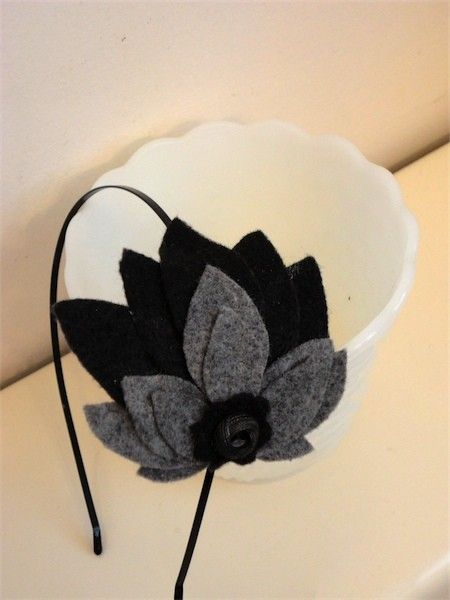 Feather style Black Gray Wool Felt Headband with button