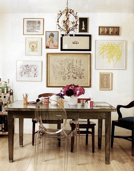 Feminine Home Office   from Domino Magazine   House & Home:  Boards, Dining Rooms, Wall Art, Frames, Offices, Gallery Walls, Gallerywall, Ghosts Chairs, Art Wall