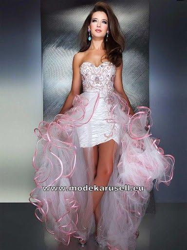 Designer Luxus Abendkleid Online in Weiss Rosa