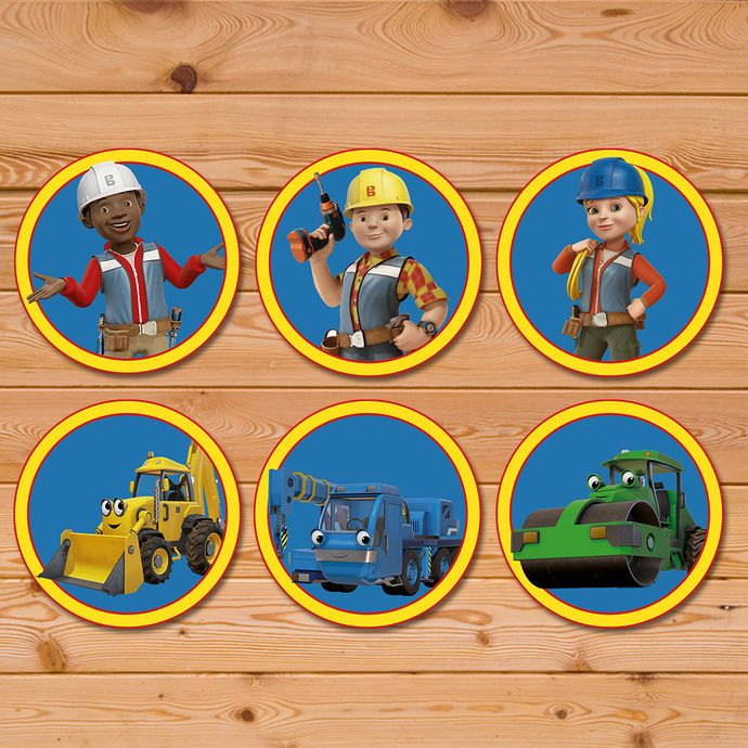 Bob The Builder Cupcake Toppers Bob The Builder Stickers Bob The Builder Party Favors Bob The Builder Birthday Party Construction Theme Birthday Party Themed Party Supplies Party Supplies