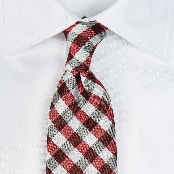 Cravata poliester rosu cu carouri - bigotti.ro - vbcrqufak67329999