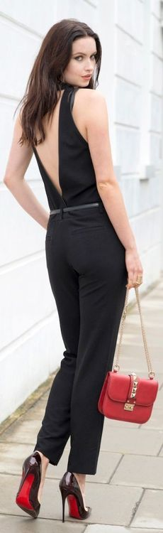 Valentino purse + deep v jumpsuit #fashion #vevelicious