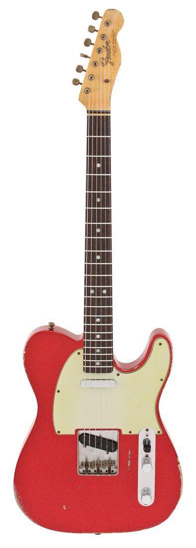 Fender Electric Guitar 67 Tele Heavy Relc Red Sparkle Masterbuilt Dennis Galuzska | Rainbow Guitars