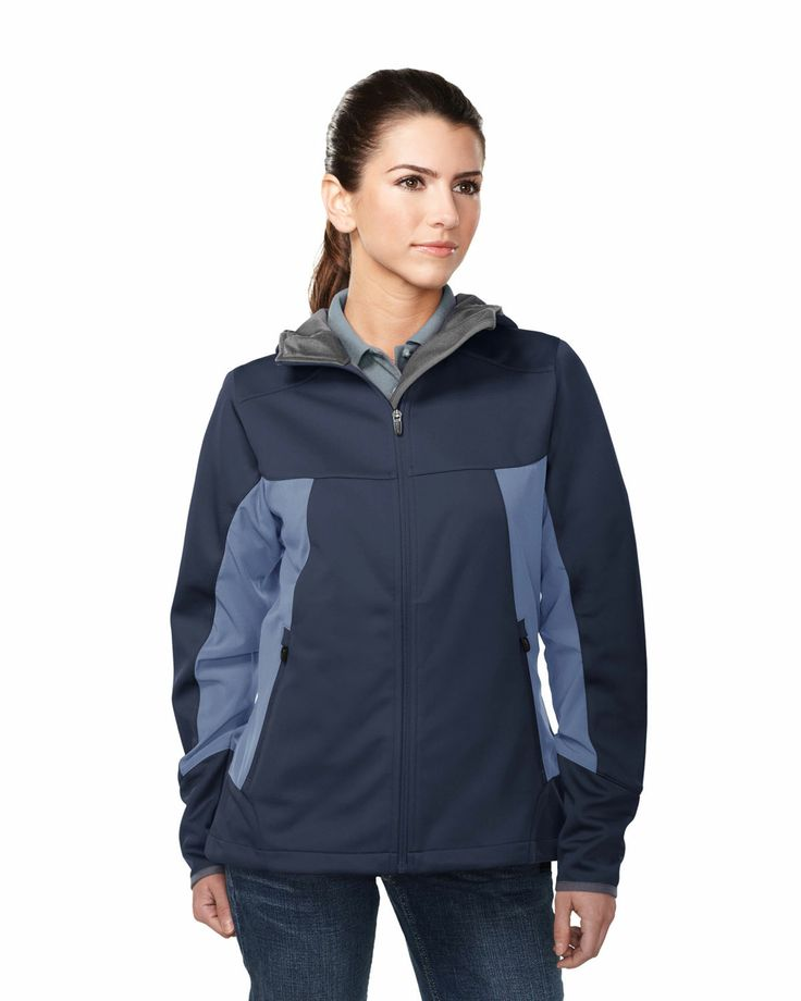 Women's Hooded Jacket with zipper pockets and contrast side panel.  Tri mountain JL6158 #Women #Trimountain #Jacket #Hooded