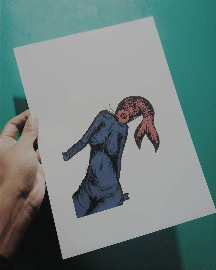 Impressão em A4 papel fotográfico por 20golpinhos. #arte #art #artesergipana #draw #desenho #illustration #ilustração #mulher #peixe #poscaoficial