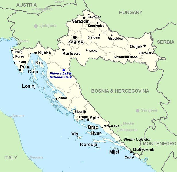Map of Croatia.    This site has info about getting to the Plitvice Lakes