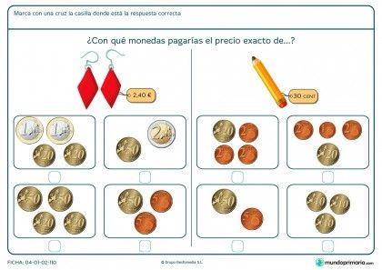 Ficha de señalar el precio exacto del lápiz para primaria