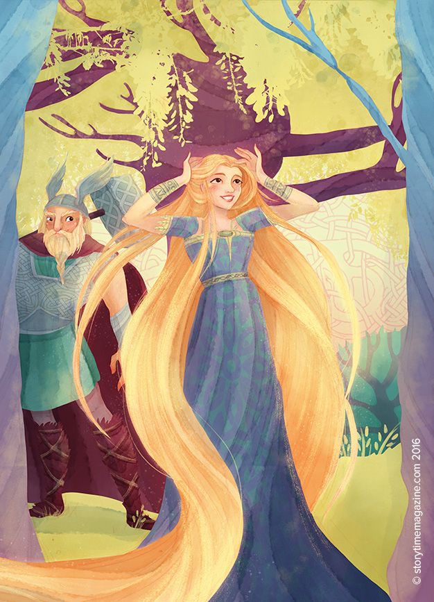 Sif's Golden Hair, beautifully illustrated by Alessandra Fusi (http://www.alessandrafusi.com) for Storytime Issue 23! ~ STORYTIMEMAGAZINE.COM