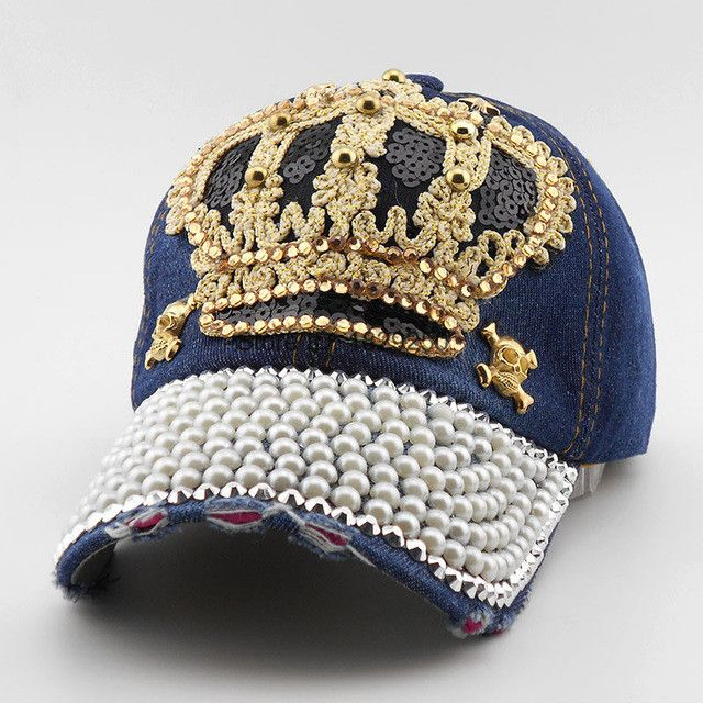 ladies baseball caps with bling luxury women cap brand crown pearl sequins hip hop vintage denim snap back womens hats