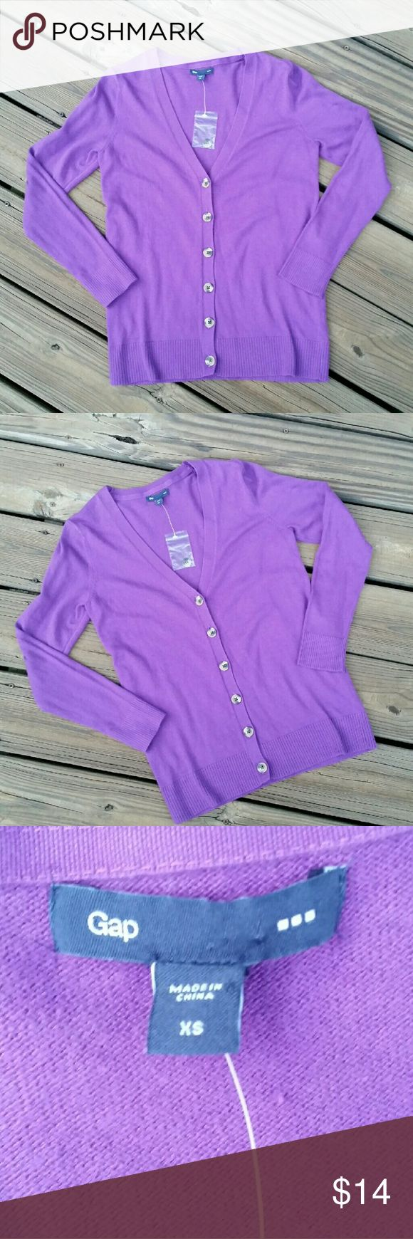 GAP Outlet Purple Cardigan Perfect fall piece! This is a gorgeous pop of purple, GAP Outlet, button down cardigan. Brand New! Button tag still attached, price tag is not. GAP Sweaters Cardigans