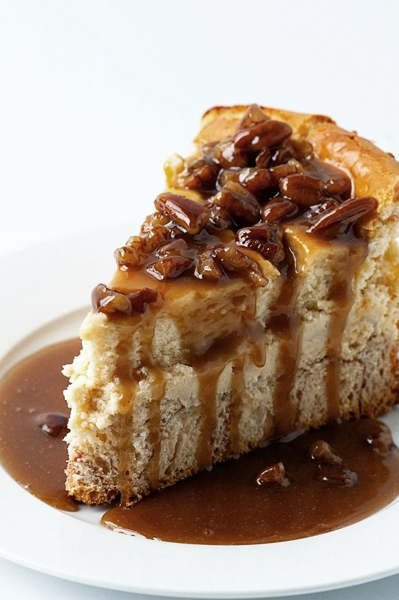 Monkey Bread Cheesecake: Cheesecake on top a Monkey Bread Crust all topped off with a sticky, yummy brown sugar pecan sauce.