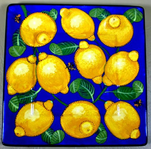 Lemon square plate an old pattern painted by artist Geoff Graham of Cinnabar Ceramics in Vallejo, California.