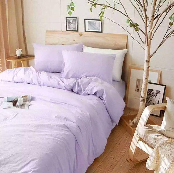 This luxurious and elegant look lavender purple duvet cover set handmade in…