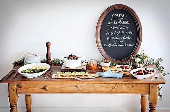 Inspired dining: A wonderfully arranged buffet and menu for a French dinner party