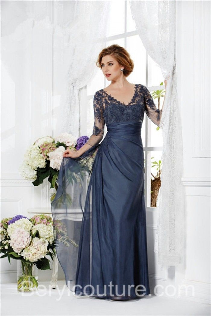 V Neck Sheer Long Sleeve Navy Blue Chiffon Lace Mother Of The Bride Evening Dress