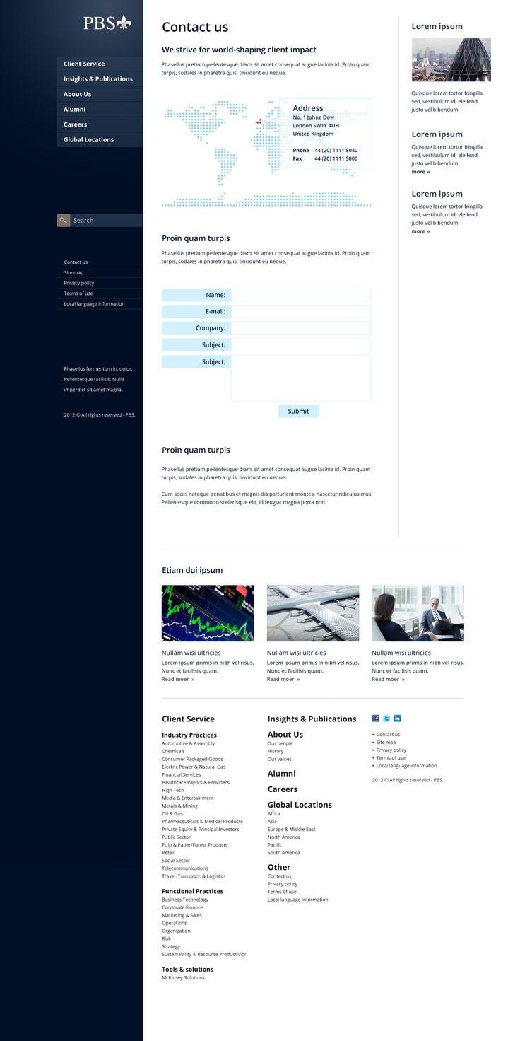 Projekt strony WWW dla firmy PBS. Koncepcja.