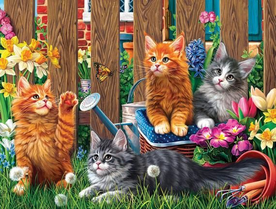 Image World DIY Kittens in the Garden 300pc Jigsaw Puzzle Sunsout Hobby Hobbies
