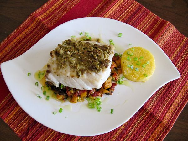 Inspired By Provence Picholine Olive Encrusted Pacific Seabass With Provencal Vegetables Is Everything Delicious Sustainable Gluten Free And Healthy