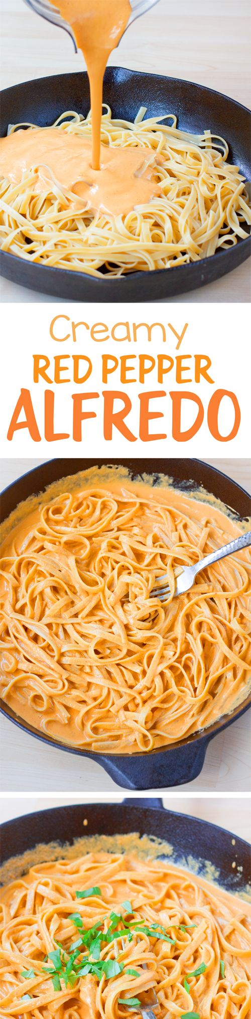 This has become one of our favorite dinners, and the creamy sauce is delicious. The vegan pasta recipe for red pepper alfredo is recommended!