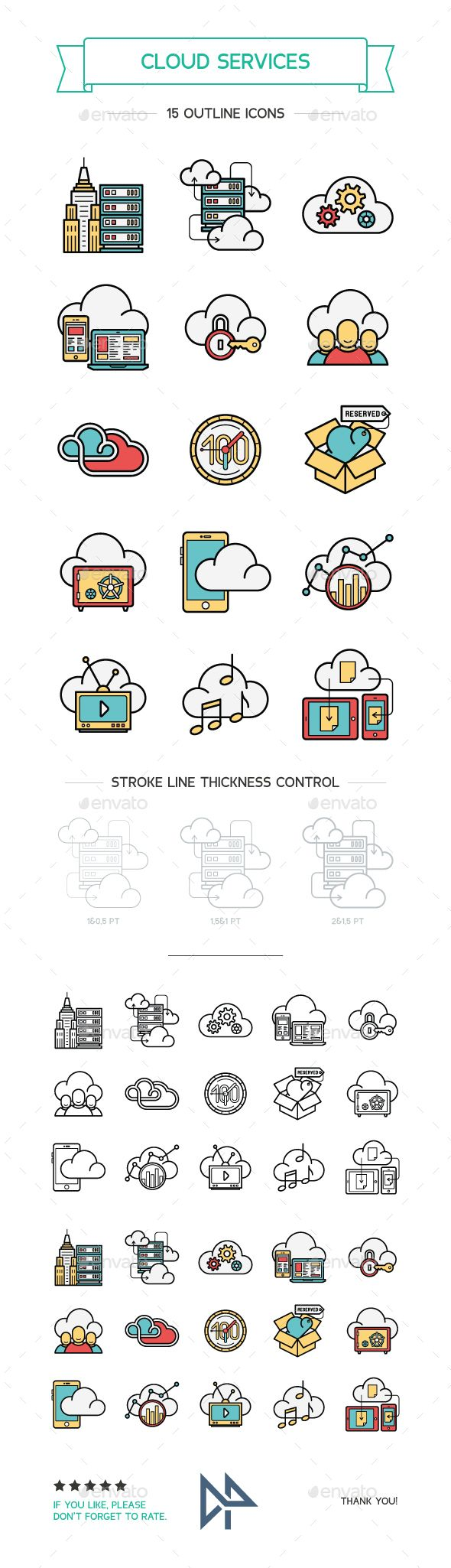 Cloud Services Line and Color Icons #design Download: http://graphicriver.net/item/cloud-services-line-and-color-icons/13098225?ref=ksioks