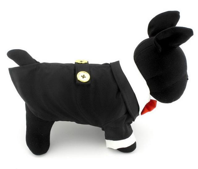 2017 Pet Clothes Small Dog Cat tshirts Classic Black Tuxedo shirt puppy Jacket Wedding Costume Clothing