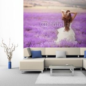 Fototapeta na ścianę - BRIDE IN WEDDING DAY IN LAVENDER FIELD | Photograph wallpaper - BRIDE IN WEDDING DAY IN LAVENDER FIELD | 104PLN #fototapeta #dekoracja_ściany #panna_młoda #lawenda #pole_lawendy #home_decor #interior_decor #photograph_wallpaper #wallpaper #flower #flower_field #lavend_field #lawendowa_prowansja #pole_lawendy