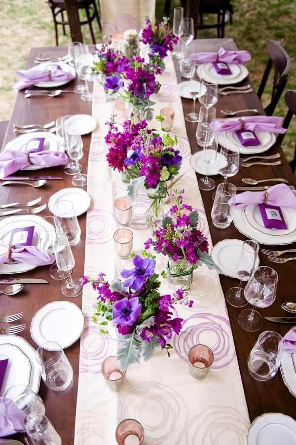 Purple reception table decor | Photo by Jill Lauren Photography - Best 25+ Long Table Centerpieces Ideas On Pinterest Wedding