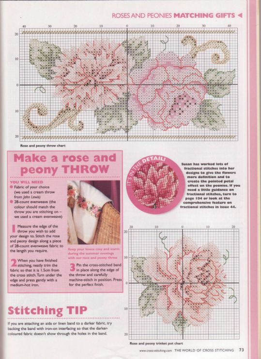 Roses and peonies part 2 free cross stitch patterns