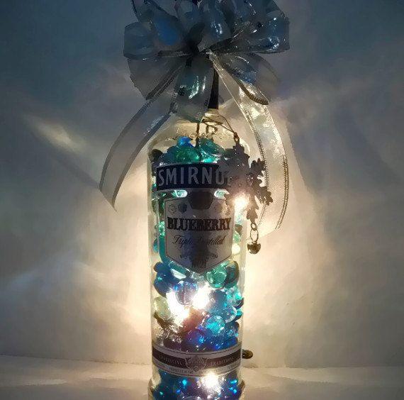 Liquor bottle lights lighted bottle bar lights for Liquor bottle art