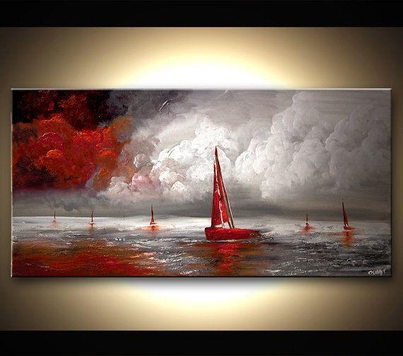 Paysage marin peinture 48 « x 24 » texture originale contemporaine voiliers rouge, gris et blanc acrylique Art abstrait par Osnat - sur commande