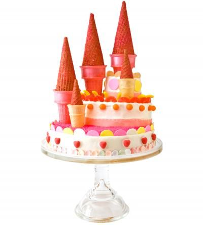Sweet! How to make a castle birthday cake with Bubble Tape. Easy, step-by-step recipe, diagrams and pictures - parenting.com