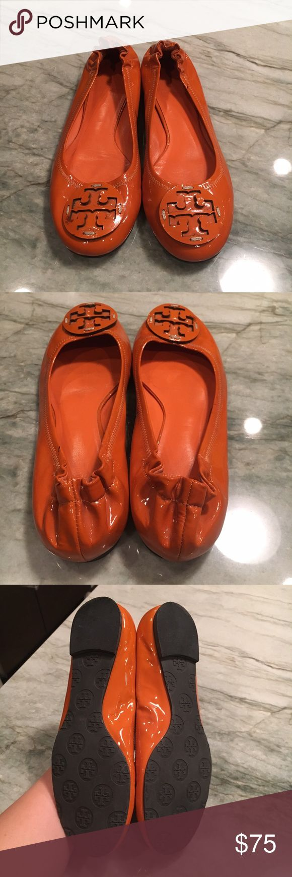 Tory Burch Flats Authentic orange Tory Burch Reva ballet flats. Size 7 but also fit a 6.5. Great condition, just some scuffs on the patent leather as shown. Idk anything about shoe marks but you could probably get them out. Tory Burch Shoes Flats & Loafers
