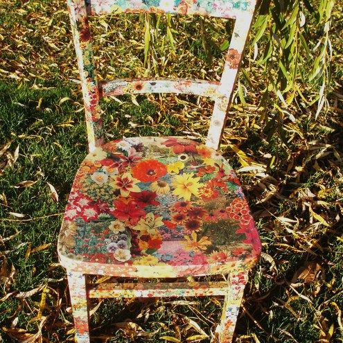 Recycled chair decoupaged with flowers in autumn colours.What a fun project for me this fall!