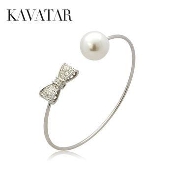 Kavatar 925 серебряный жемчуг браслет бантом большой перл манжеты браслеты и браслеты для женщин, бесплатная доставка