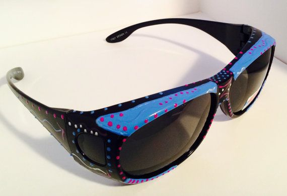 Hand Painted Fit Overs Sunglasses Blue Lagoon by Art4yourglasses
